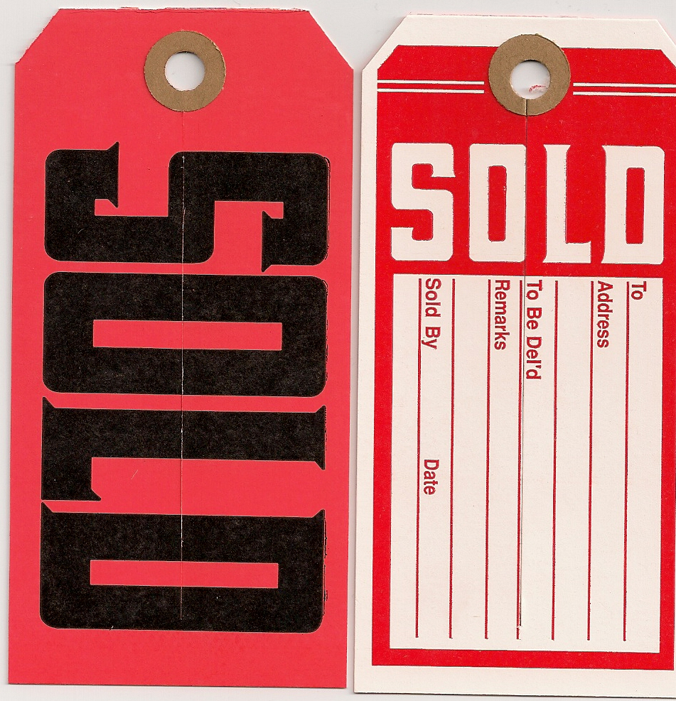 #5 (4 3/4 X 2 3/8) WHITE/RED SOLD TAGS - PRINTED 2/SIDES WITH SLIT 100s
